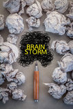 Brain storm concept with crumpled paper and line drawing.jpg Royalty Free Stock Photo