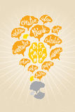 Brain storm concept. Brain Storm concept with many brains and wording in shape of light bulb Royalty Free Stock Photo