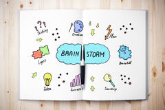 Brain storm concept. Top view of open book with creative sketch placed on wooden desktop. Brain storm concept. 3D Rendering Stock Photos