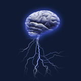 Brain storm. Brain with lightning strike and glow Stock Image