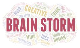 Brain Storm word cloud. Wordcloud made with text only stock illustration