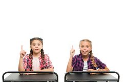 Brain storming. Idea concept. Students classmates sit desk. Back to school. Private school concept. Elementary school royalty free stock image