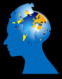 Brain Storming Puzzle Mind World. Am image for the concept of puzzled mind brain storming mental, where the image shows an human head in silhouette with a puzzle Stock Image