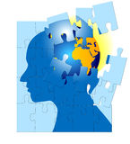 Brain Storming Puzzle Mind World. Am image for the concept of puzzled mind brain storming mental, where the image shows an human head in silhouette with a puzzle Royalty Free Stock Images