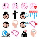 Brain stroke health medical icons - brain injury, brain damage concept royalty free illustration
