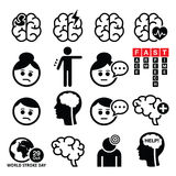 Brain stroke icons - brain injury, brain damage concept Stock Photo