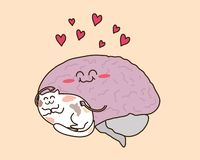 The brain strokes the cat. Vector illustration stock illustration