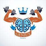 Brain with strong bicep hands of bodybuilder. Power Brain emblem. Genius concept.  Brain training, grow IQ, mental health Stock Photos