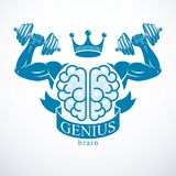 Brain with strong bicep hands of bodybuilder. Power Brain emblem. Genius concept.  Brain training, grow IQ, mental health Royalty Free Stock Photos