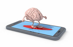 Brain that surfing on smartphone screen. Human brain with arms and legs surfing on smartphone screen, 3d illustration Stock Image