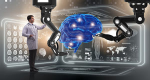 The brain surgery done by robotic arm royalty free stock images