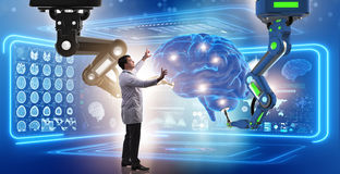 The brain surgery done by robotic arm stock image