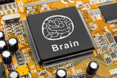 Brain symbol on computer chip Royalty Free Stock Images
