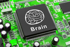 Brain symbol on computer chip