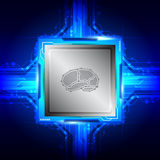 Brain symbol on computer processor Royalty Free Stock Images