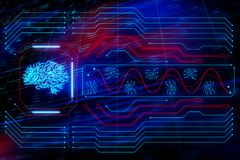 Brain symbol. Glowing circuit board and a CPU with a brain symbol at abstract background. 3D render Stock Image