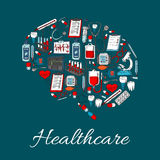 Brain symbol made up of medicine, healthcare icon. Brain poster with medicine and healthcare icons of heart and syringe, pill, stethoscope and drug, microscope Royalty Free Stock Image