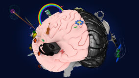 The brain with the symbols of the two hemispheres #3 Stock Photography