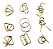 Brain teaser. A set of metal puzzles Royalty Free Stock Images