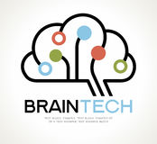 Brain Tech Mind Data Logo-Design Lizenzfreies Stockbild