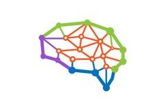 Brain Technology Digital Wires Symbol logo Royaltyfri Fotografi