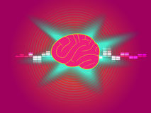 Brain technology on pink abstract background vector. Colorful technology and invention for use as a background vector illustration