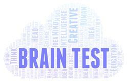Brain Test word cloud. Wordcloud made with text only royalty free illustration