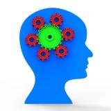 Brain Think Shows Head Concept och beskåda Royaltyfria Foton
