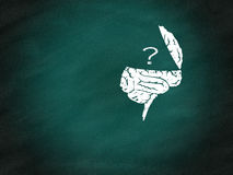 Brain thinking conceptual on green chalkboard Stock Images