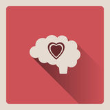 Brain thinking in love illustration on red background with shade Stock Images