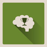 Brain thinking of victory illustration on green background with shade Stock Photography