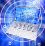 Brain Thought Computer. A laptop computer with a human brain on the screen and a 3D circuit board background Royalty Free Stock Images