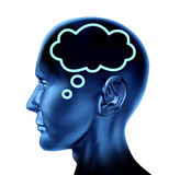 Brain thought with word bubble. Symbol represented by an isolated human head looking forward Stock Images