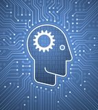 Brain To Computer Interface - mente Cybernetic Imagem de Stock