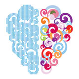 Brain. Two different sides of human brain vector illustration Stock Images