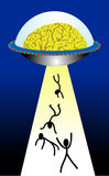 Brain UFO. Vector illustration for a brain UFO trying to suck the human, imagination Royalty Free Stock Images