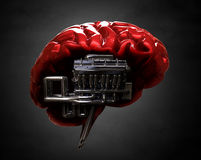 Brain and v8 engine. Red shiny brain and v8 engine Stock Image