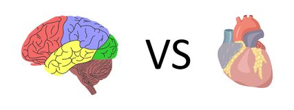 Brain vs heart Royalty Free Stock Photos
