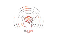 Brain waves concept. Hand drawn isolated vector. Brain waves concept. Hand drawn human head radiating waves. Brain study isolated vector illustration Stock Photography