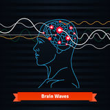 Brain waves. Electrodes connected to a man head Royalty Free Stock Images