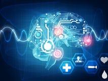 Brain waves. Futuristic medical concept Stock Photos
