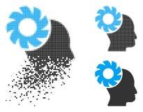 Brain Wheel Icon tramé pointillé cassé illustration libre de droits