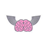 Brain with wings. Symbol logo ideas. Brain with Angel Wings on a Stock Images