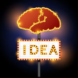 Brain and word of idea neon sign Royalty Free Stock Images