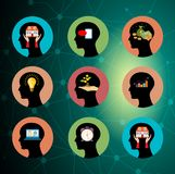 Brain working concept Head silhouette set. royalty free illustration