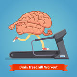 Brain working out on treadmill. Education concept. Brain working out on a treadmill. Education concept. Flat style vector illustration  on blue background Royalty Free Stock Photography