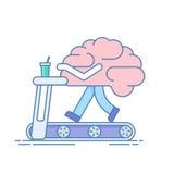 Brain Workout Het concept hersenenactiviteit Opleiding of sportenactiviteiten op de tredmolen Vectorillustratie in a Stock Fotografie