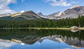 Brainard Lake in Ward Colorado. Brainard Lake Reflection in Indian Peaks Wilderness Ward Colorado stock photo
