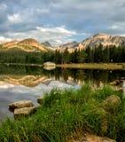 Brainard lake reflections. Morning reflection on Brainard Lake outside of ward, colorado stock image