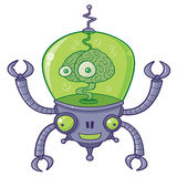 BrainBot Robot with Brain. Vector cartoon illustration of a robot with a large brain with eyes in green liquid. BrainBot has four long arms with claws royalty free illustration